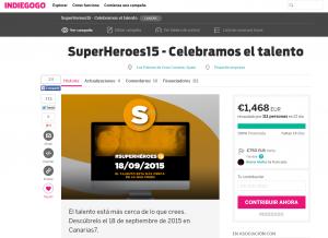 Pantallazo de la campaña de crowdfunding de #SuperHeroes15 en Indiegogo